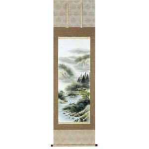 掛け軸「彩色山水」上野白映作【送料無料】|e-kakejiku