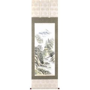 掛け軸「彩色山水」今井祥堂作【送料無料】|e-kakejiku