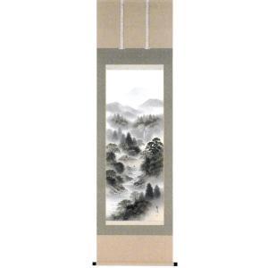 掛け軸「彩色山水」小谷春風作【送料無料】|e-kakejiku