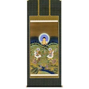 掛け軸 山越阿弥陀図 (モダン インテリア 掛軸)尺八立|e-kakejiku