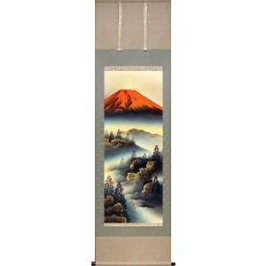 掛け軸 「赤富士」 遠田岳南作 (お買得!特選掛軸)|e-kakejiku