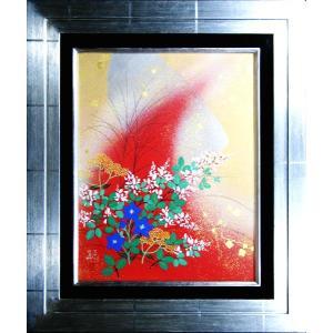日本画 「月に秋草図・麗」植田環(直筆・日本画)F6号|e-kakejiku