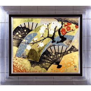 日本画 「扇面輝図・紅白梅」植田環(直筆・日本画)F8号|e-kakejiku