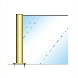 ガラススクリーンポール(ブースバー) Pタイプ 平二方 32mm x L250mm 平頭 丸座固定 ゴールド|e-kanamono