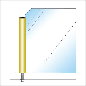 ガラススクリーンポール(ブースバー) Pタイプ 平二方 32mm x L250mm キリコミ平頭 ボルト固定 ゴールド|e-kanamono