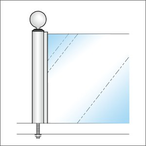 ガラススクリーンポール(チャンネルポール) Sタイプ 一方 50mm x L250mm ボール頭 ボルト固定 クローム|e-kanamono