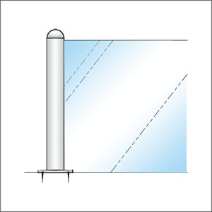 ガラススクリーンポール(ブースバー) Sタイプ 一方 20mm x L100mm 半球頭 丸座固定 クローム|e-kanamono