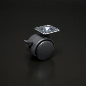 双輪キャスター(軽荷重用) プレートタイプ ストップ付 40mm|e-kanamono