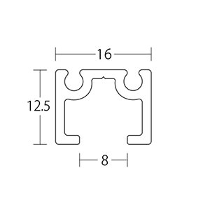 ピクチャーレール HPI-040 16mm幅(面設置/埋込設置兼用) 3000mm アルマイトシルバー 【軽量用】 【※サービスカット対応商品です】|e-kanamono|02