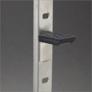 ステンレス棚柱 KTR-1S用 専用L型棚受 ヘアライン 黒ラバー付|e-kanamono