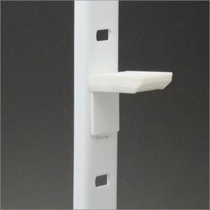 ステンレス棚柱 KTR-1S用 専用L型棚受 ホワイト塗装 白ラバー付|e-kanamono