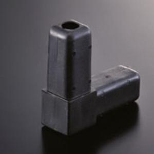 組立パイプシステム UPS-25S 25mm角アルミパイプ用 コネクター 2P 黒(樹脂製)|e-kanamono