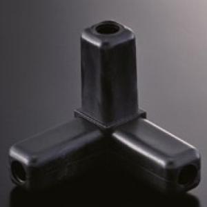 組立パイプシステム UPS-25S 25mm角アルミパイプ用 コネクター 3PK 黒(樹脂製)|e-kanamono