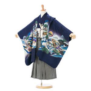 5歳男の子 七五三 羽織袴レンタル 定番人気の羽織袴 レンタルセットです!  羽織:紺地 兜 着物:...
