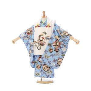 被布 3歳男児|七宝柄の被布着物セットレンタル(ブルー系)|男の子(三歳 被布)