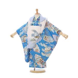 3歳 被布セット|鷹柄の被布着物セットレンタル(ブルー系)|男の子(三歳 被布)