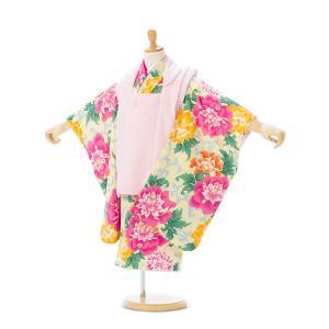 七五三 着物レンタル 3歳  優しいクリームイエローに爛漫の牡丹で華やか!  被布:ピンク 着物:ク...