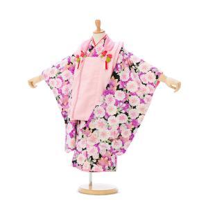 七五三 着物レンタル 3歳 式部浪漫ブランド 黒地に桜の総柄が目を引きます!  被布:ピンク 鶴に松...