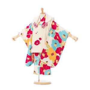 被布 椿柄の七五三着物3歳 女の子(被布)フルセット(白系 )|女の子(三歳)