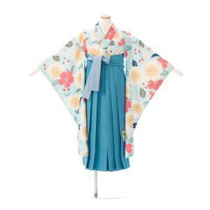 袴レンタル pom ponette 卒業式袴フルセット(ブルー系)|女の子(小学生袴)E-13-07...