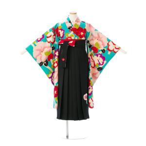 袴レンタル 紅一点 卒業式袴フルセット(ターコイズ系)|女の子(小学生袴)E-13-083