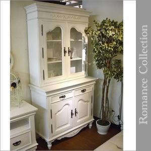 アンティーク カップボード(食器棚)キャビネット 白家具 カントリーコーナー ロマンスコレクション|e-kirakukan