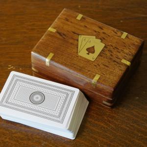 トランプ カード 箱入り ブラス飾り 置物 トランプケース 木製 おしゃれ