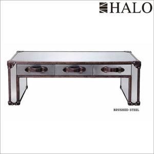 受注生産:HALO ハロ スラブコーヒーテーブル(ブラッシュドスチール) 受注生産 e-kirakukan