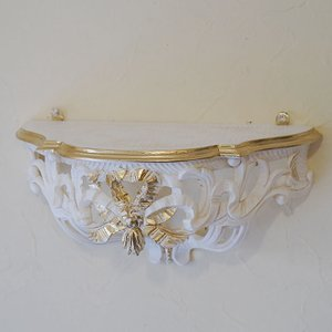 イタリア製 壁掛け コンソール ホワイト 白 ゴールドリボン 飾り棚 インテリア雑貨 おしゃれ雑貨