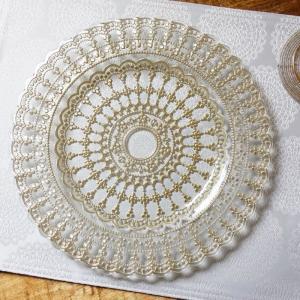 【商品名】ガラス食器・ゴールドレース ディナープレート 皿 29cm 【サイズ】幅 28.5×奥行 ...