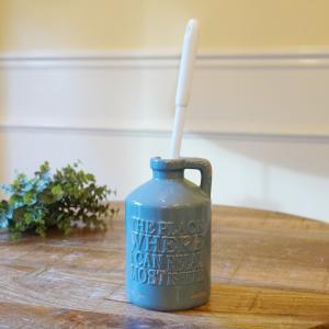 トイレブラシ おしゃれ 陶器 クラシックボトルシリーズ(ブルーグレー色BG)アンティーク加工