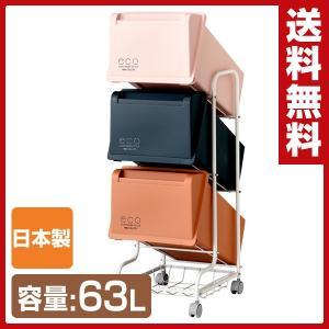 ゴミ箱 分別 縦型 21L×3段 キャスター付き コンテナスタイル CS4-60 ダストボックス 3分別 ペールワゴン|e-kurashi