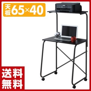 パソコンデスク キャスター付き NHP65HC(MBRMBR ダークブラウン パソコンラック PCデスク PCラック 机|e-kurashi