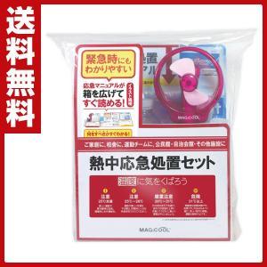 熱中応急処置セット (応急処置マニュアル付き)ビニールシート/瞬間冷却パック/フェイスタオル/空ペットボトル500ml2本/使い捨て体温計/クイッククール|e-kurashi