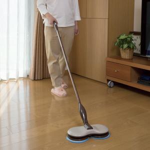 くるくるツインモップ EL-70266 モップ 水拭き 床掃除 フローリング 回転モップ 掃除 清掃 クリーナー 雑巾掛け 雑巾がけ 雑巾 窓拭き