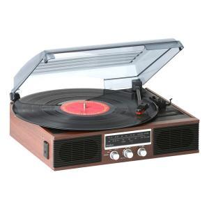 木目調 レコードプレーヤー コンパクト (AM/FMラジオ (ワイドFM対応)) 簡単操作 TT-138(BR) ブラウン レコードプレーヤー CD カセットテープ ダビング AM FMの画像
