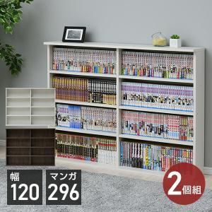 2個組 薄型 積み重ね本棚(幅120) CSBS-9012*2 書棚 ブックシェルフ 壁面収納 本収納 DVD CD コミック【あすつく】|e-kurashi