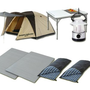 お買い得キャンプ7点セット(テント+ランタン+寝袋2個+マット2個+テーブル) CSET-1320B テント ランタン 寝袋 マット レジャーテーブル|e-kurashi