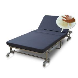 折りたたみベッド シングルベッド 折り畳みベッド 折りたたみベット 低反発 リクライニングベッド マットレス付きベッド KBSH-90S-RG【あすつく】 e-kurashi