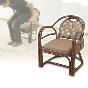 籐椅子/完成品 肘掛け 座椅子TF20-531M(BR) ブラウン 座椅子 座いす 椅子 チェア イス いす 敬老の日【あすつく】|e-kurashi