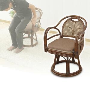 籐椅子/完成品 回転 籐 高座椅子 肘掛けTF27-779(BR) ブラウン 回転椅子 回転チェア 椅子 イス いす チェア チェアー 敬老の日【あすつく】|e-kurashi