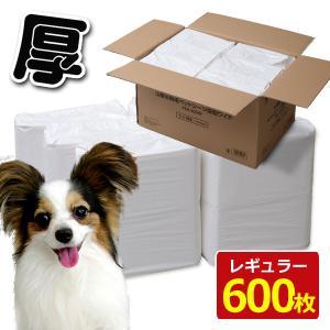 お徳用使い捨てペットシーツ 犬用(厚型レギュラー600枚入) PSA-100R*6 ペットトイレシー...