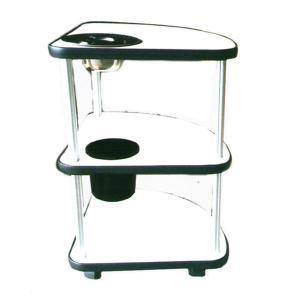 麻雀卓用3段サイドテーブル「TS-33パールホワイト」灰皿・ゴミ箱付き|e-mahjong