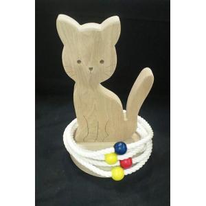 k.kurosawa国産無塗装の輪投げネコ【木おもちゃ・玩具・輪投げ・わなげ・んネコ】|e-meiboku