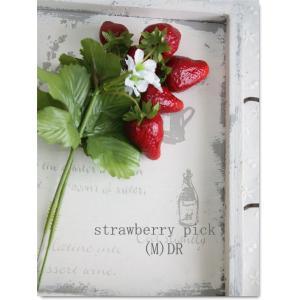 いちごのピック M(2本) ダークレッド 23017D 造花 インテリア 装飾 フルーツ ストロベリー フェイクフラワー|e-mintcafe