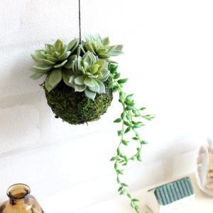ハンギングモスボール サキュレント&グリーンネックレス 多肉植物 造花 CT触媒|e-mintcafe