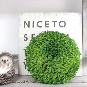 ボックスウッドリースφ22cm 観葉植物 造花 インテリア CT触媒 フェイクグリーン e-mintcafe