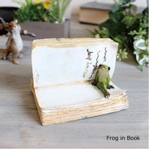 フロッグインブック Frog in Book カエル かえる 雑貨 ガーデン雑貨 インテリア|e-mintcafe