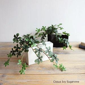 シサスプラント シュガーバイン 長方形プラント 石:ホワイト 造花 インテリア 観葉植物 ミニ|e-mintcafe
