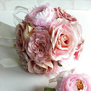 ローズ&ラナンキュラスブーケ・ピンク(ブートニアつき) Happy Wedding 造花 ブーケ ウェディング (送料別途 北海道 沖縄 離島)|e-mintcafe